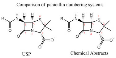 Comparsion of Penicllin Numbering Systems