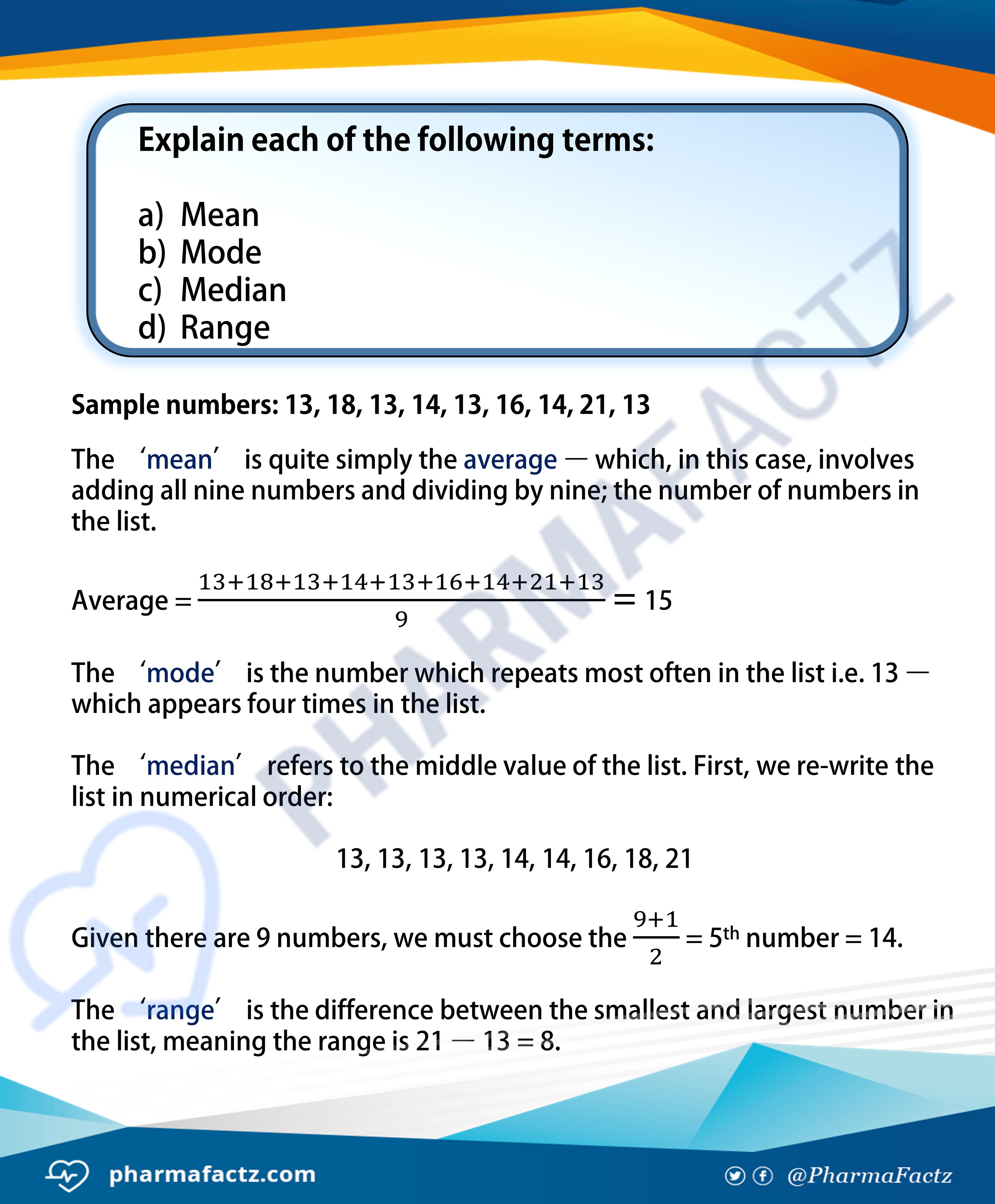 What is Mean, Mode, Median & Range?